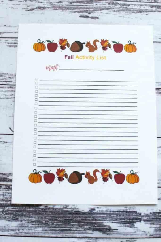 Fall Activity List