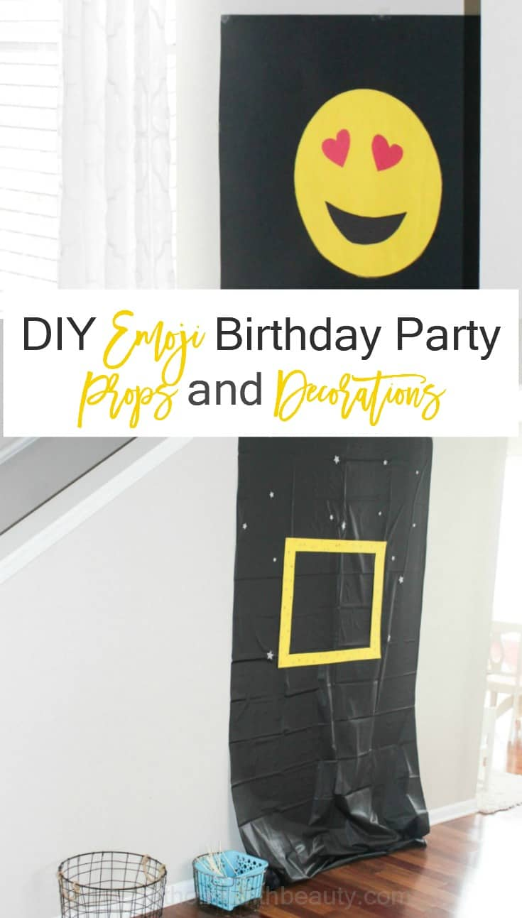 DIY Emoji birthday party props and decorations