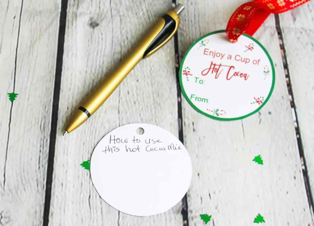 hot cocoa holiday gift tags