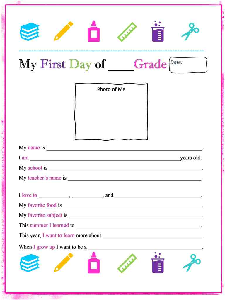 My First Day of School Printable Keepsake for Kids -athomewithzan.com