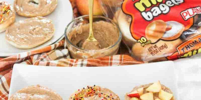 Cinnamon Cream Cheese Snack Bagels for Fall- athomewithzan.com