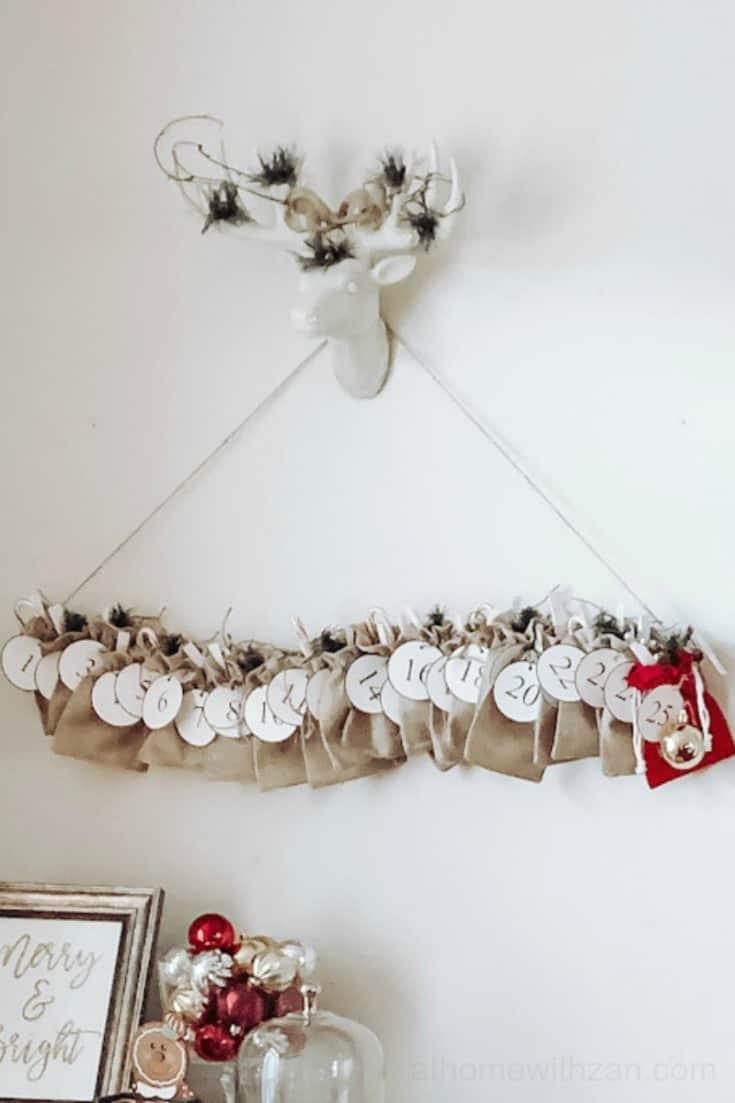 Hanging Advent Calendar - Rustic Advent Calendar - Scandinavian Advent Calendar Using a Tree Branch - Advent Calendar Ideas - Christmas Countdown Calendars - Advent Calendars on Pinterest - athomewithzan