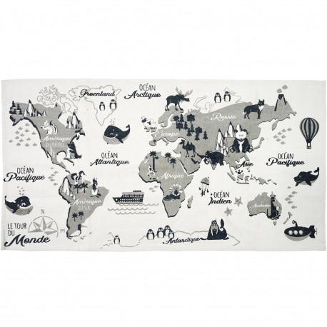 tapis rectangulaire enfant carte du monde mappemonde 70x140cm blanc gris et noir