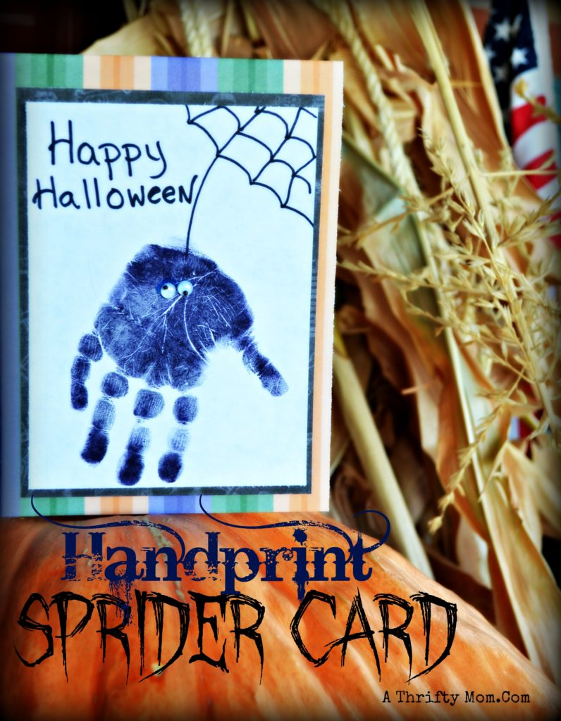 Easy Halloween Card For Kids Hand Print Spider Card