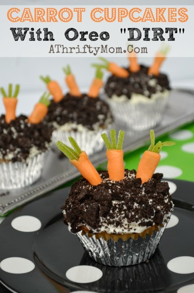 Carrot and Oreo Cookie DIRT Cupcakes  Cupcakes for kids