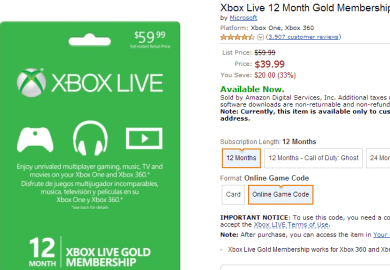 12 Month Xbox Live Sale