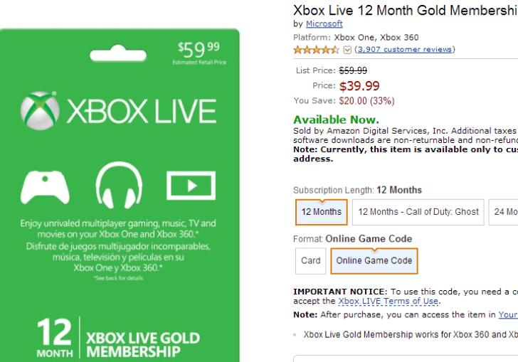 12 Month Xbox Live Sale