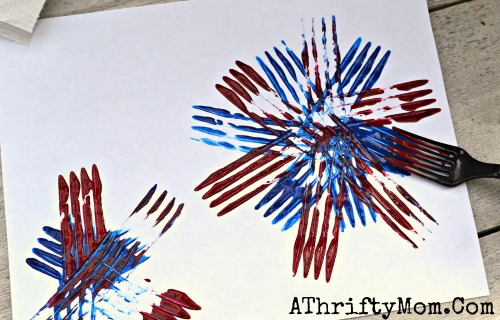 Fireworks Painted With A Fork Quick And Easy Craft