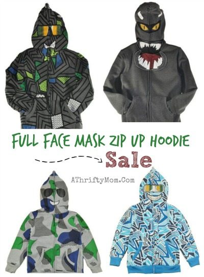Teen Boys Gift Ideas Full Face Mask Zip Up Hoodie Sale