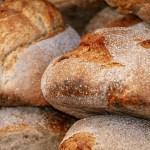 uncut loafs of fresh bread