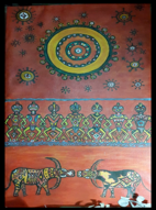 Toraja style paintings depicting the struggle to fight off COVID-19. Photo credit: Frans Pongsamma.
