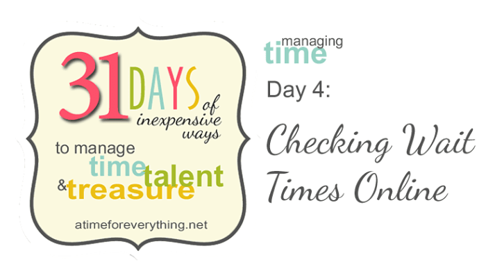 31 Days of Managing Time, Talent, and Treasure: Checking Wait Times Online