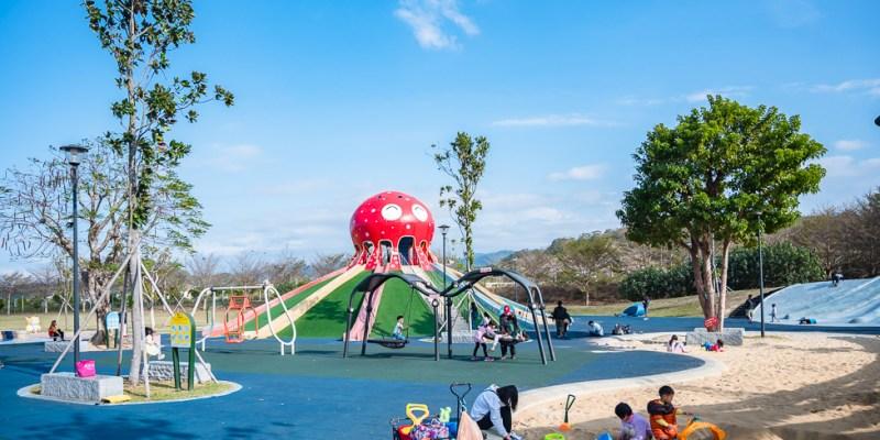  特色公園 貓裏喵親子公園,八爪章魚造型溜滑梯、大草地、沙坑、動物蹺蹺板,把孩子的電放光吧