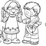 Desenhos Crianças na Primavera para Colorir