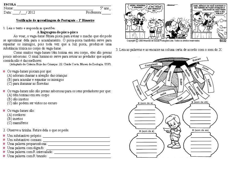 Muitas vezes AVALIAÇÕES DE LÍNGUA PORTUGUESA PARA 5º ANO XS43