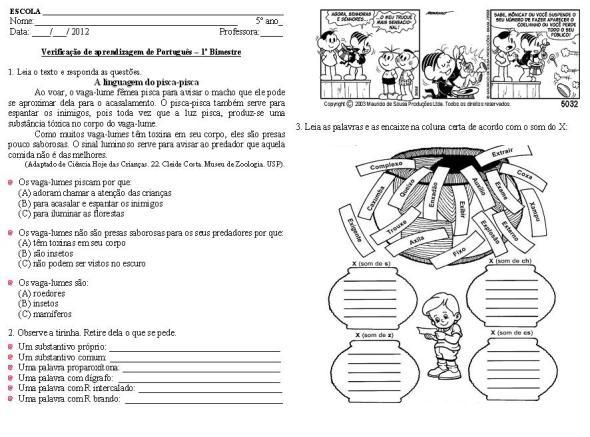Avaliações de Língua Portuguesa para 5º ano