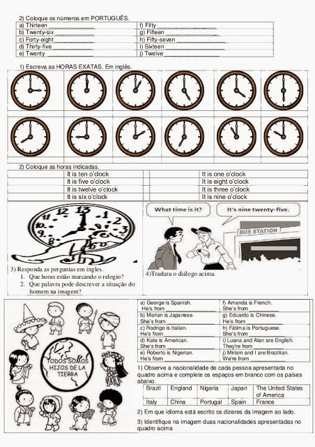 Atividade de inglês para 6º ano prontas