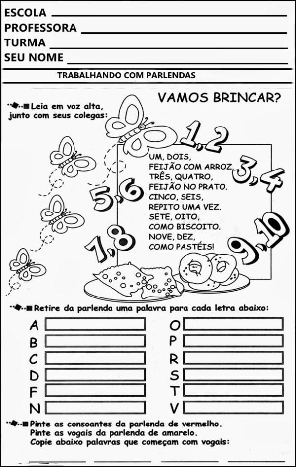 atividades escolares 001 Parlendas