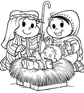 natal-colorir monica e cebolinha menino jesus