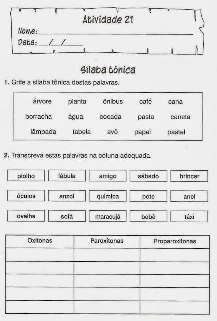 Atividade de Português para o 3º, 4º e 5º ano