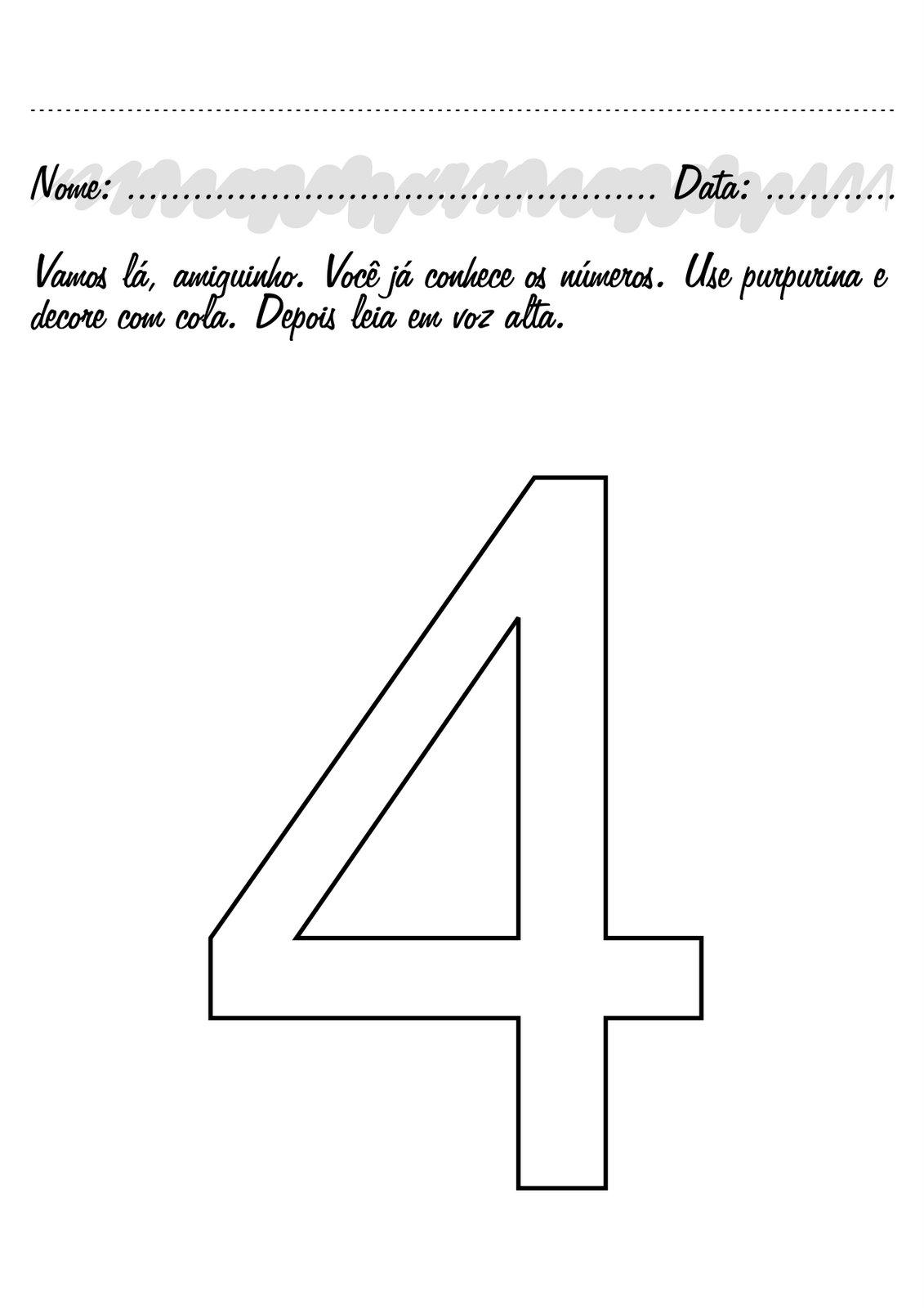 Ver más ideas sobre números preescolar, numero para colorear, actividades de matemáticas preescolares. ATIVIDADES COM NUMERO 4 PARA EDUCAÇÃO INFANTIL