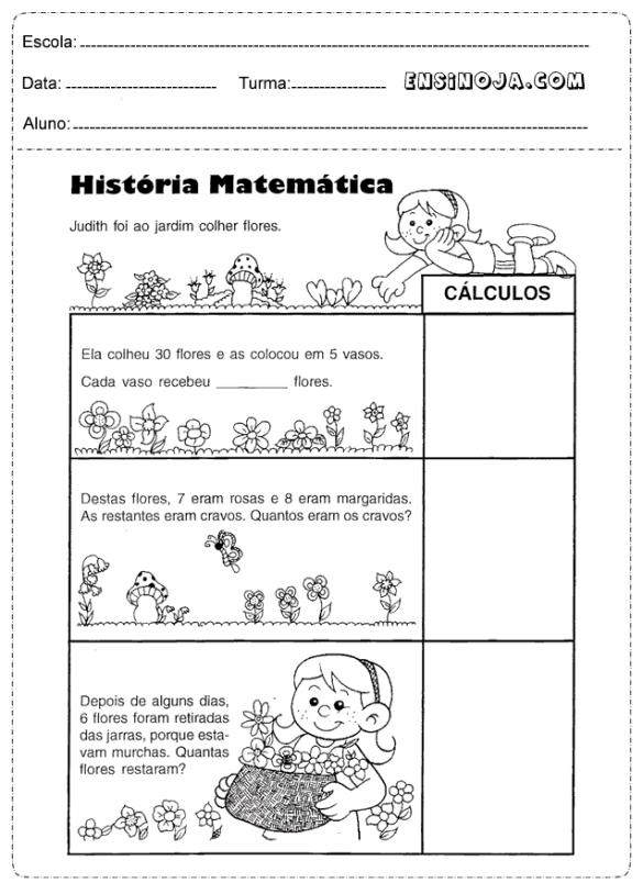 Atividades de problemas matemáticos para o 3º ano