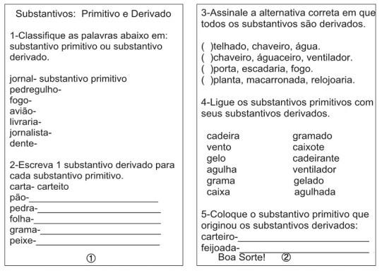 Atividades Com Substantivos Primitivos e Derivados