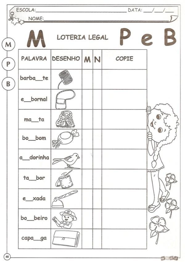 Atividades com M antes de P e B
