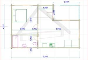 Casa de madera Tenerife 56,40 m2 1 habitacion ,terazza - AtiWood