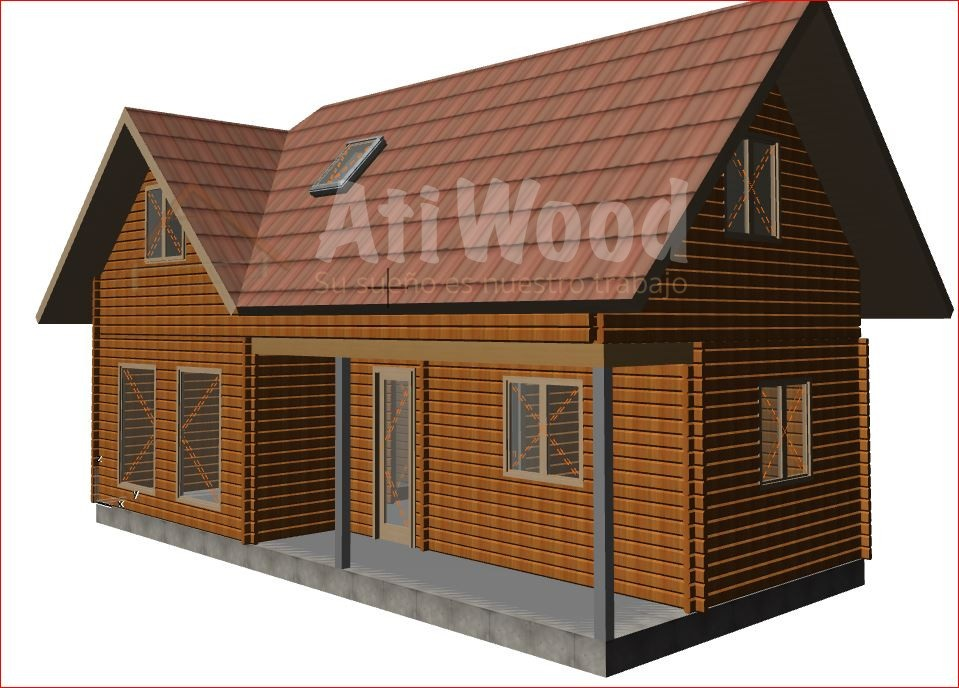 casa de madera 3 habitacion