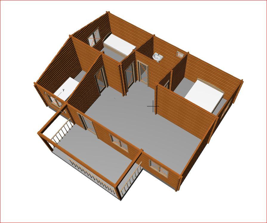 Casa prefabricada de madera 55m2 3 habitacion y terraza for Casas prefabricadas para terrazas