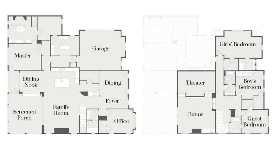 Floorplan for a 5 bedroom 5 bathroom home designed by Woodridge Homes in Tennessee /// atkinsondrive.com