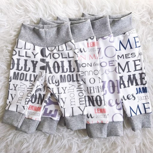 Our personalized name leggings are so fun and unique because of our original design using different fonts. Use them for any occasion from bringing your little one home from the hospital to celebrating their first birthday!