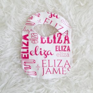 Keep your little one's clothes from stains with this beautiful organic cotton baby name bib! The cotton is absorbent and soft on their skin for ultimate comfort.