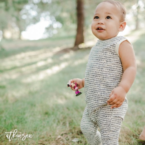 The Atkinson Drive kid's harem romper in splendid is a fun and comfy way to let your little run wild in style!
