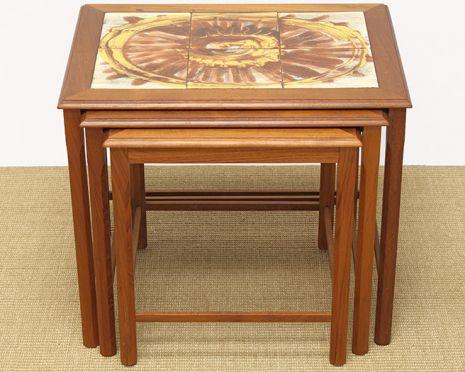 set of 3 teak mid century tile top nesting tables