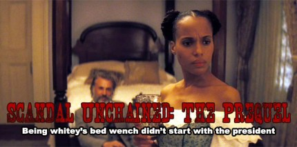 Kerry Washington and Christoph Waltz In Django Unchained