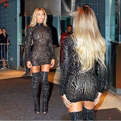 Beyonce in fitted Tom Ford in New York