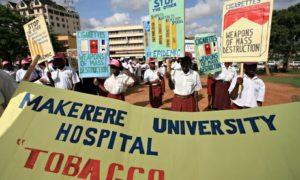 An anti-smoking demonstration in Uganda