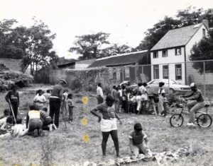 Undated photograph of possible archeolgy education program at Weeksville