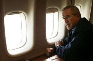 President Bush pauses aftering having a first-hand look from the window of Air Force One of the damage to New Orleans, Wednesday, Aug. 31, 2005,  from Hurricane Katrina. (AP Photo/Susan Walsh)