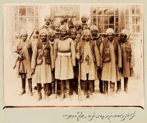 Slaves who were not eunuchs were sometimes assigned to the armies of the Qajar elites. The 14 pictured here belonged to Qajar prince Zell-e-Soltan, Ghameshlou, Isfahan, 1904. Photograph: Zell-e-Soltan/Modern Conflict Archive, London, UK