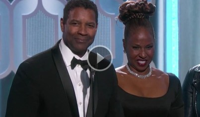 Denzel Washington and family at 2016 Golden Globe