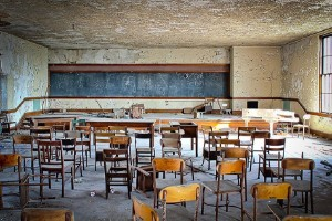 An abandoned Detroit school. (Photo: Thomas Hawk/Flickr)
