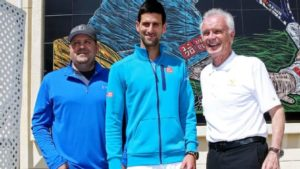 Raymond Moore, right, is a former professional player from South Africa who took over as CEO of Indian Wells Tennis Garden in 2012, after being associated with the event for decades. By Matthew Stockman/Getty Images