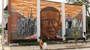 Mural of the late Freddie Gray in Baltimore, Maryland.