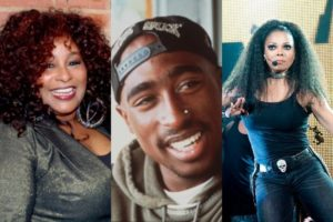 Chaka Khan, Tupac and Janet Jackson (Wikipedia/Flickr)