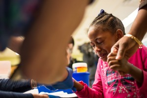 A girl in Flint gets a blood test for lead. Brett Carlsen/Getty Images