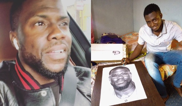Kevin Hart bought a drawing from a Nigerian artist who drew a picture of him.