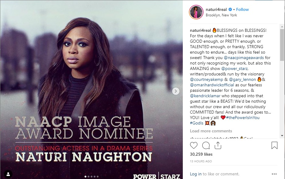 """Naturi Naughton celebrates being nominated for Outstanding Actress in a Drama Series for """"Power"""" role."""